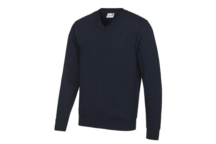AWDis Academy Mens V Neck Jumper/Sweatshirt (Navy) (M)