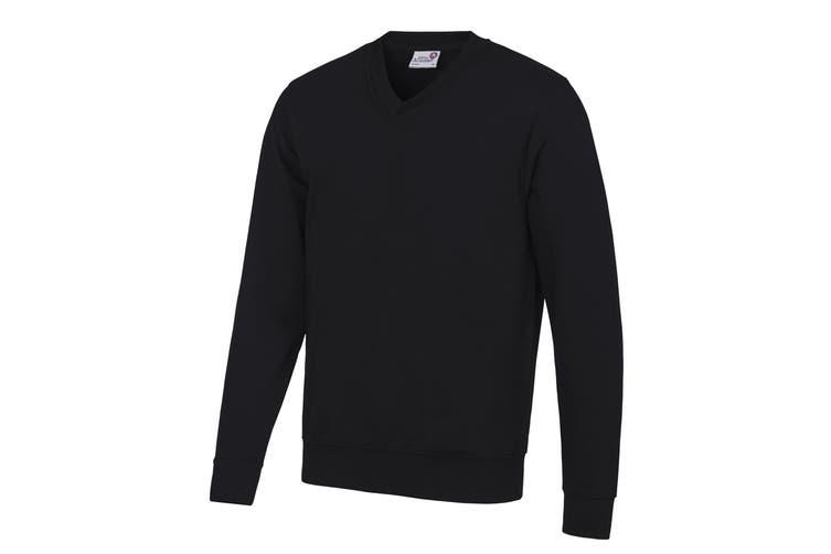 AWDis Academy Mens V Neck Jumper/Sweatshirt (Black) (L)