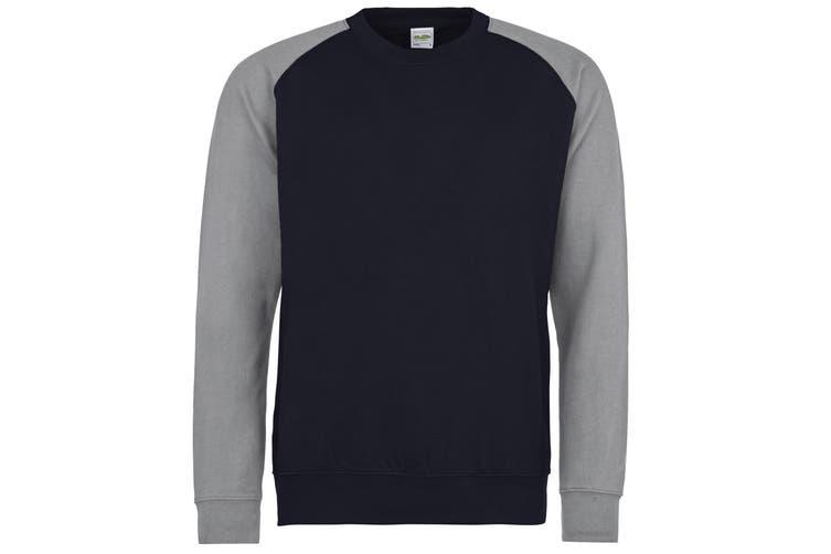 Awdis Mens Two Tone Cotton Rich Baseball Sweatshirt (Oxford Navy/Heather Grey) (M)
