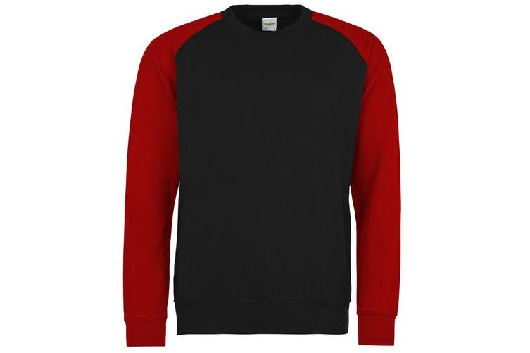 Awdis Mens Two Tone Cotton Rich Baseball Sweatshirt (Jet Black/Fire Red) (2XL)