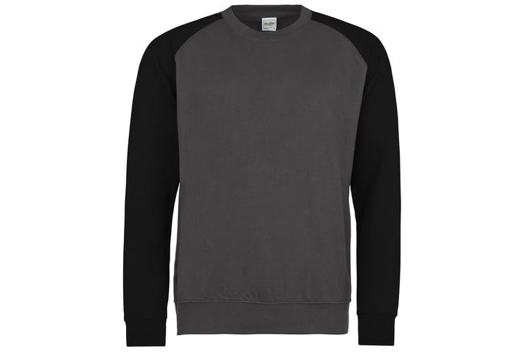 Awdis Mens Two Tone Cotton Rich Baseball Sweatshirt (Charcoal/Jet Black) (XL)