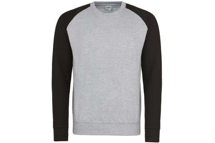 Awdis Mens Two Tone Cotton Rich Baseball Sweatshirt (Heather Grey/Jet Black) (XL)