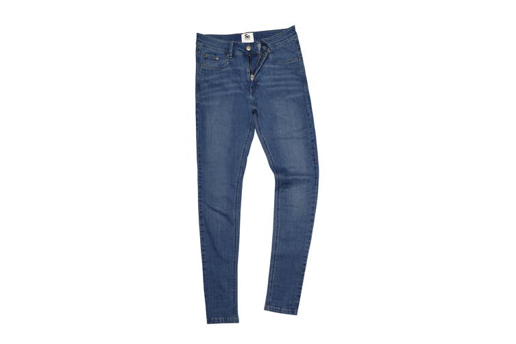 AWDis So Denim Womens/Ladies Lara Skinny Fit Jeans (Mid Blue Wash) (16L)