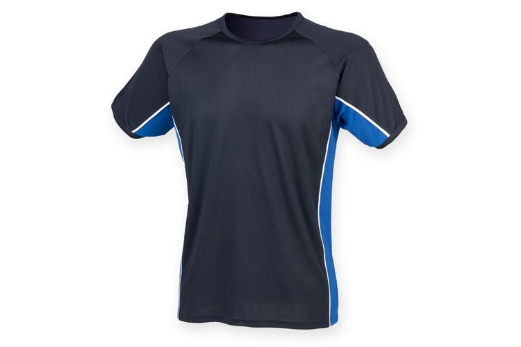 Finden & Hales Childrens/Kids Short Sleeve Performance Panel Sports T-shirt (Navy/ Royal/ White) (13/14 years)