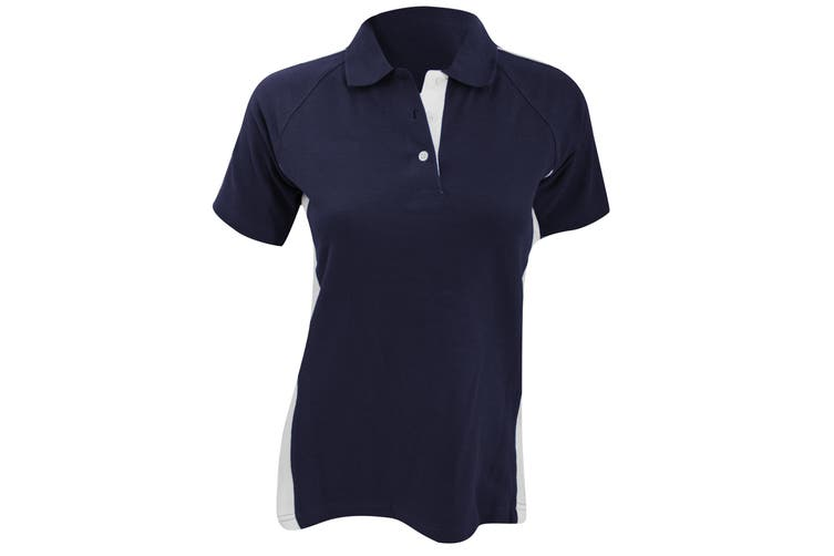 Finden & Hales Womens/Ladies Sports Polo T-Shirt (Navy/White) (L)