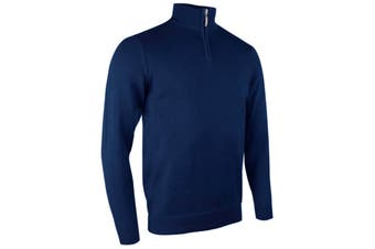 Glenmuir Mens Plain Zip Neck Cotton Golf Sweater/Jumper (Navy) - UTRW4180