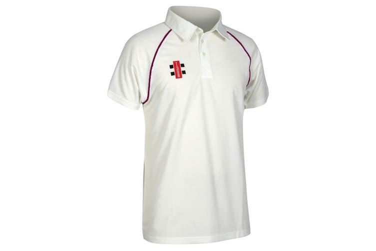 Gray-Nicolls Mens Matrix Short Sleeve Cricket Shirt (Ivory/ Maroon) (XL)
