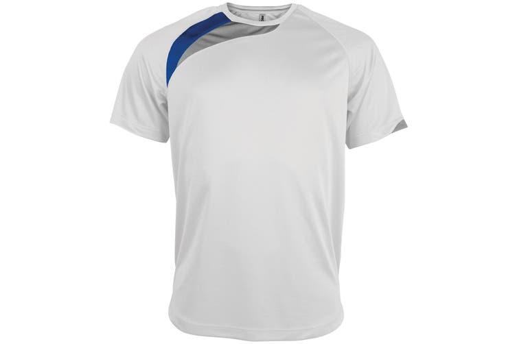 Kariban Proact Mens Short Sleeve Crew Neck Sports T-Shirt (White/ Royal/ Storm Grey) (L)