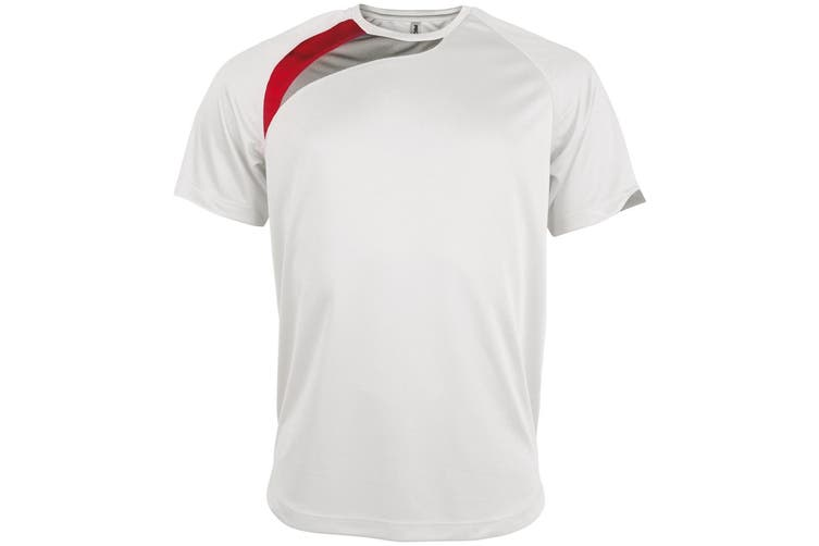 Kariban Proact Mens Short Sleeve Crew Neck Sports T-Shirt (White/ Red/ Storm Grey) (S)