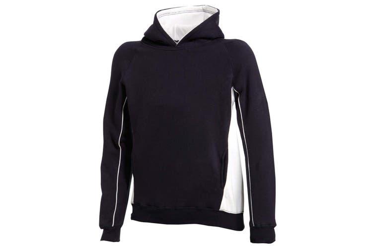 Finden & Hales Kids Pullover Hooded Sweatshirt / Hoodie (Navy/White) (9-10)