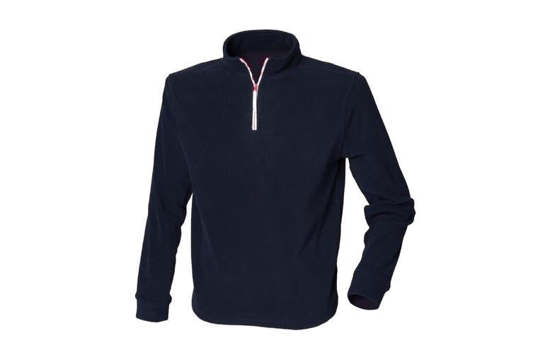 Finden & Hales Mens 1/4 Zip Long Sleeve Piped Fleece Top (Navy/White) (M)