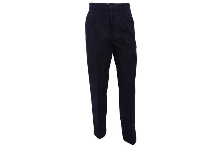 RTY Workwear Mens Casual Stain Resistant Single Pleated Work Chinos (Navy) (30T)
