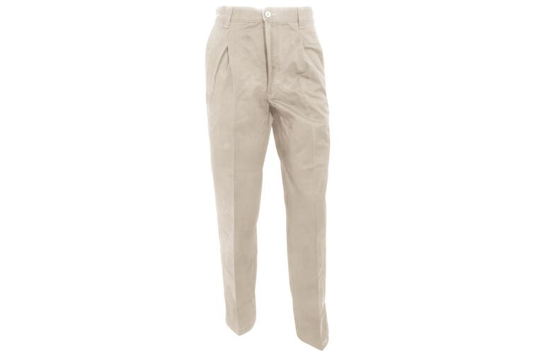 RTY Workwear Mens Casual Stain Resistant Single Pleated Work Chinos (Stone) (48R)