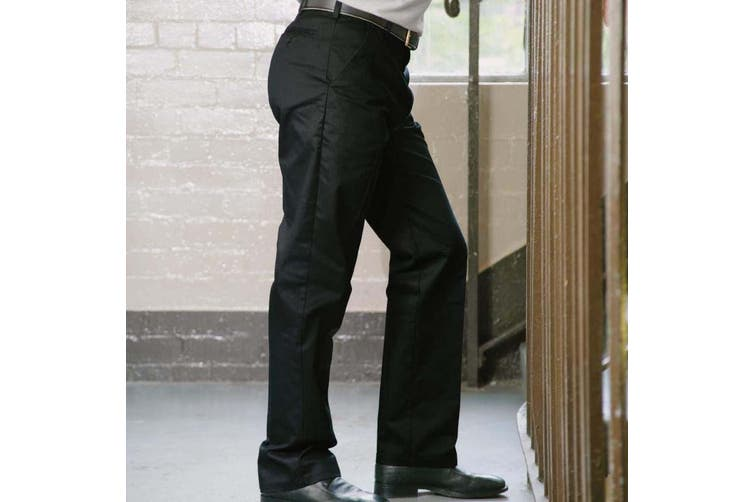 RTY Workwear Mens Pleated Trousers (Black) (48T)