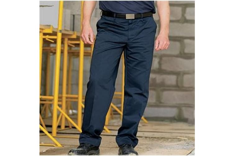 RTY Workwear Mens Pleated Trousers (Navy) (30R)