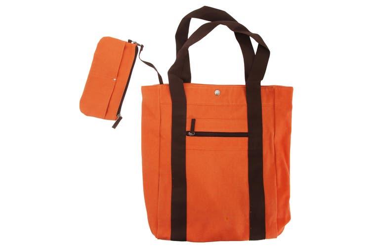 Quadra Milan Fashion Shopping Tote Bag (Br. Orange/ Choc) (One Size)