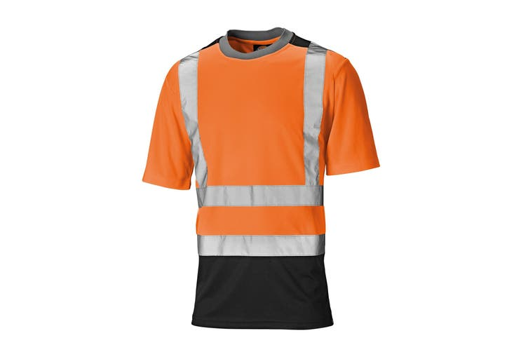 Dickies Mens Short Sleeve Two Tone Hi Visibility T-Shirt (Orange/Navy) (L)