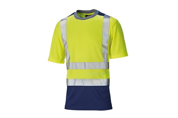 Dickies Mens Short Sleeve Two Tone Hi Visibility T-Shirt (Saturn Yellow/Navy) (3XL)