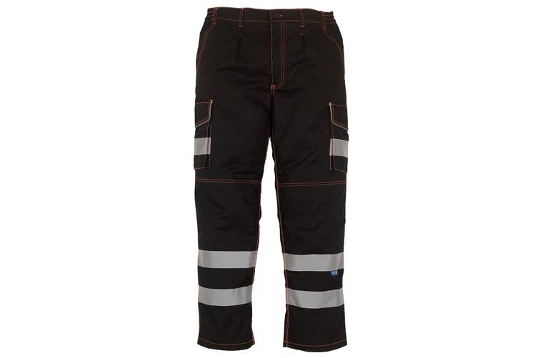 Yoko Mens Hi Vis Polycotton Cargo Trousers With Knee Pad Pockets (Black) (36L)