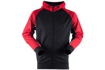 Finden & Hales Mens Moisture Wicking Panelled Sports Hoodie (Black/ Gun Metal Grey/ White) (M)