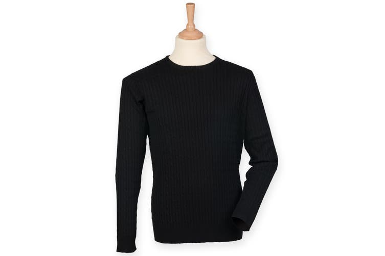 Front Row Mens Cotton Rich Cable Knit Sweater/Jumper (Black) (XL)
