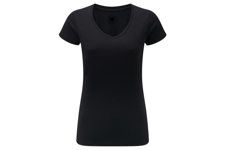 Russell Womens/Ladies V-Neck HD Short Sleeve T-Shirt (Black) (L)