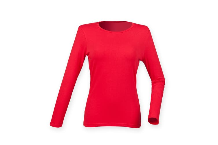 Skinni Fit Womens/Ladies Feel Good Stretch Long Sleeve T-Shirt (Bright Red) (L)