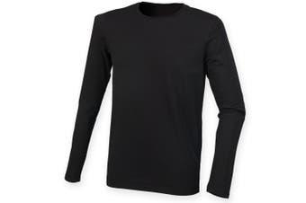 Skinnifit Mens Feel Good Long Sleeved Stretch T-Shirt (Black) (2XL)