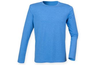 Skinnifit Mens Feel Good Long Sleeved Stretch T-Shirt (Heather Blue) (S)
