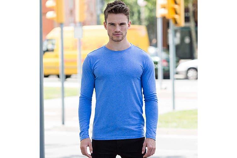 Skinnifit Mens Feel Good Long Sleeved Stretch T-Shirt (Heather Blue) (XL)
