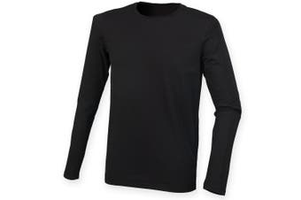 Skinnifit Mens Feel Good Long Sleeved Stretch T-Shirt (Black) (L)