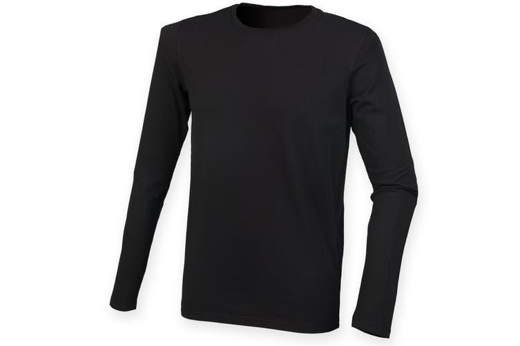Skinnifit Mens Feel Good Long Sleeved Stretch T-Shirt (Black) (S)
