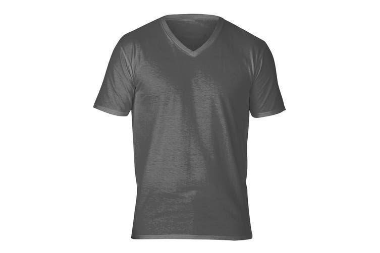 Gildan Adults Unisex Short Sleeve Premium Cotton V-Neck T-Shirt (Charcoal) (M)