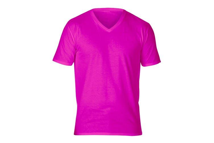Gildan Adults Unisex Short Sleeve Premium Cotton V-Neck T-Shirt (Heliconia) (S)
