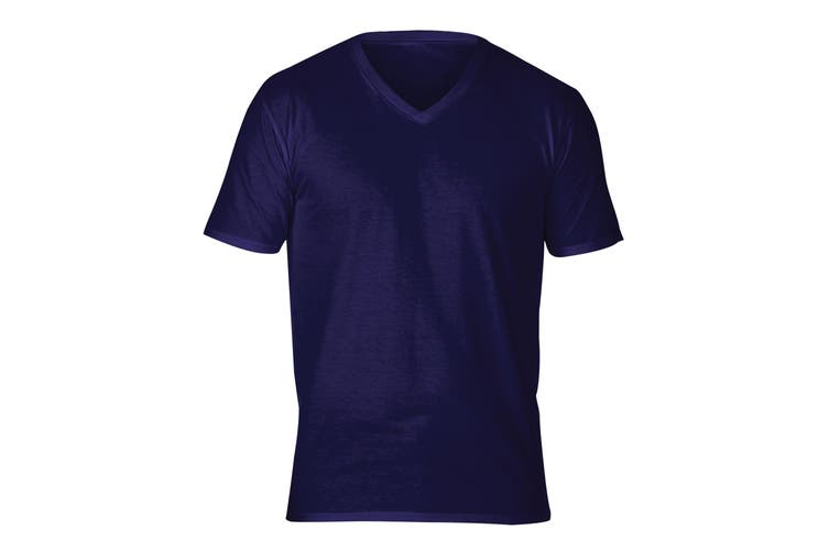 Gildan Adults Unisex Short Sleeve Premium Cotton V-Neck T-Shirt (Navy) (S)