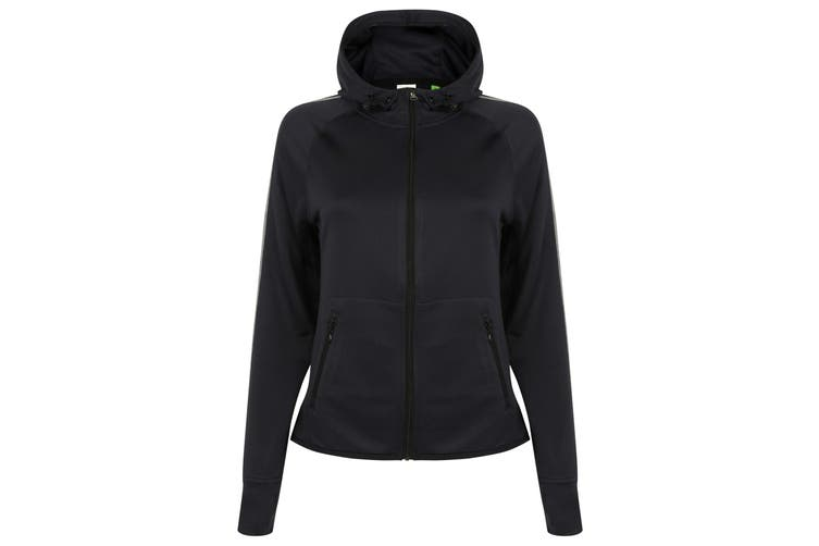 Tombo Teamsport Womens/Ladies Lightweight Running Hoodie With Reflective Tape (Navy) (XS)