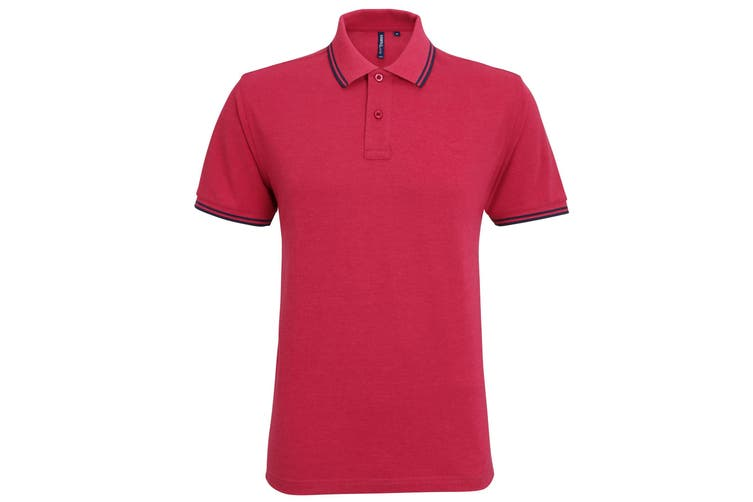 Asquith & Fox Mens Classic Fit Tipped Polo Shirt (Red Heather/Navy) (2XL)