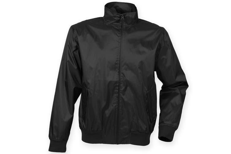 Henbury Mens Harrington Showerproof & Breathable Jacket (Black) (M)