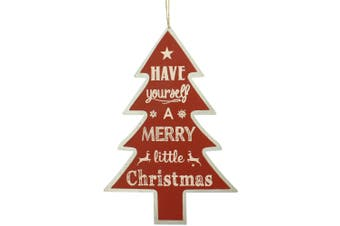 Christmas Shop Tree Sign Decoration (Red Merry) (One Size)
