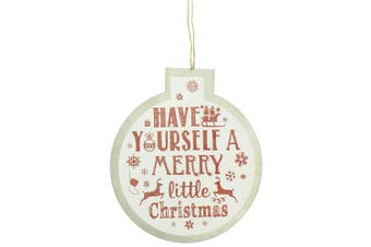 Christmas Shop Bauble Sign Decoration (White Merry) (One Size)