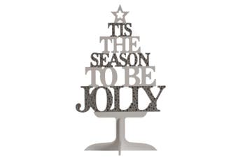 Christmas Shop Wooden Text Tree Decoration (Silver/White) (One Size)