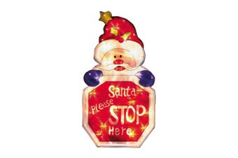 Christmas Shop Santa Please Stop Here Illuminated Window Sign (Red) (One Size)