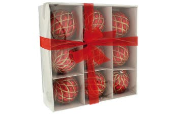 Christmas Shop Decorated Christmas Baubles (Set Of 9) (Shiny Red) (One Size)