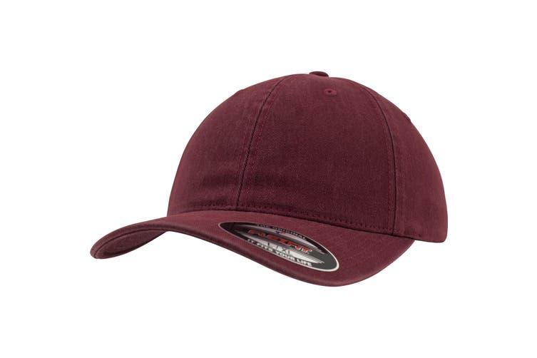 Flexfit Garment Washed Cotton Dad Baseball Cap (Maroon) (S/M)