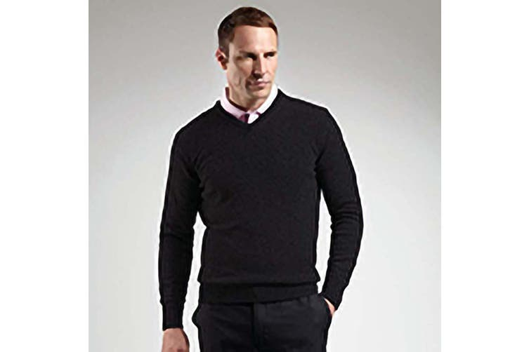 Glenmuir Lomond V-Neck Lambswool Sweater / Knitwear (Black) (M)