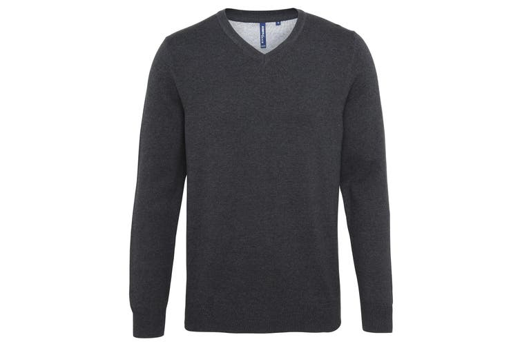 Asquith & Fox Mens Cotton Rich V-Neck Sweater (Black Heather) (2XL)
