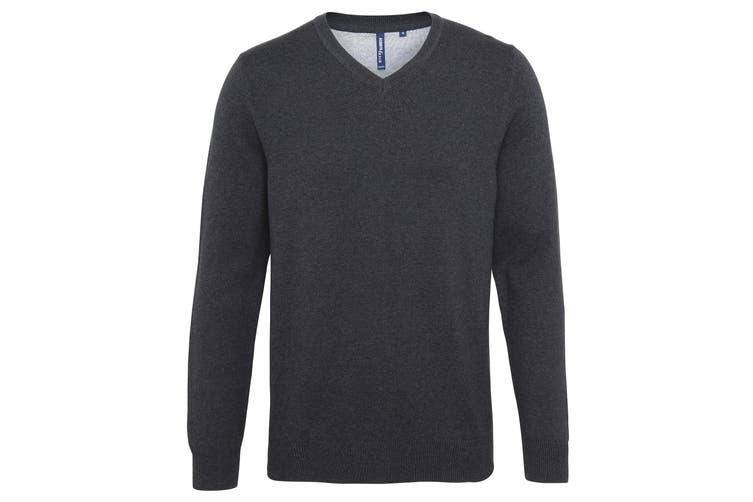 Asquith & Fox Mens Cotton Rich V-Neck Sweater (Black Heather) (M)