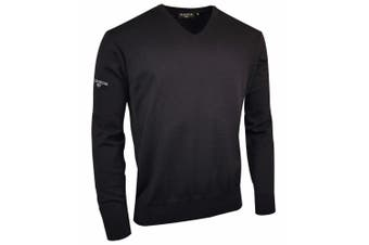 Glenmuir V Neck 100% Cotton Sweater / Knitwear (Black) (2XL)