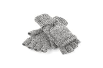 Beechfield Adults Unisex Fliptop Knitted Winter Gloves (Heather Grey) - UTRW5193