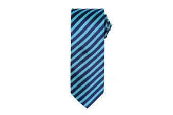 Premier Mens Double Stripe Pattern Formal Business Tie (Turquoise/ Navy) (One Size)